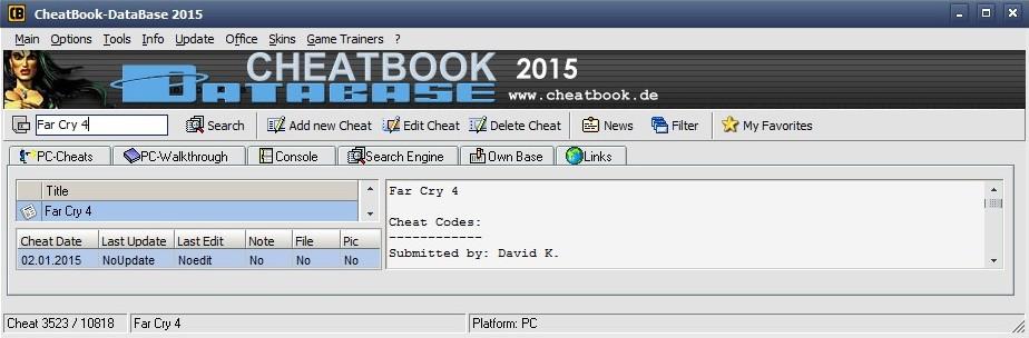 CheatBook DataBase 2015