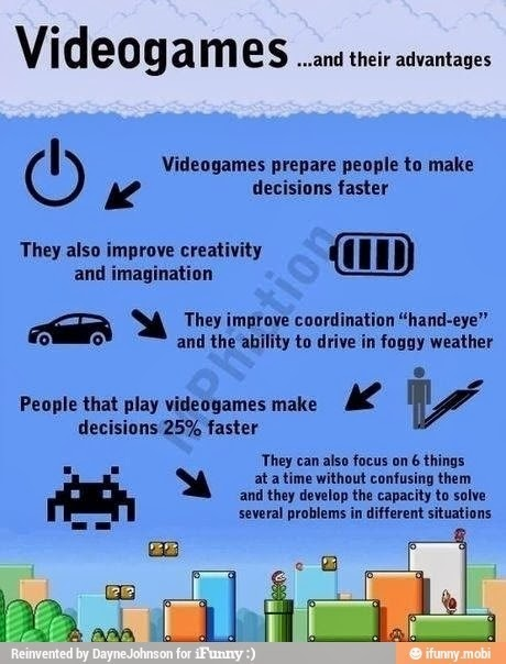 Videogames and their advantages. The good side to playing video games